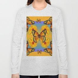 ORANGE-BLUE   BUTTERFLIES & YELLOW SUNFLOWERS Long Sleeve T-shirt