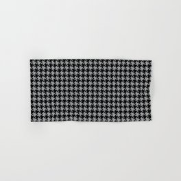 PreppyPatterns™ - Cosmopolitan Houndstooth - black and silver gray Hand & Bath Towel