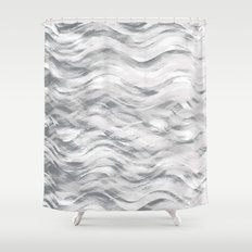 Silver Waves Shower Curtain