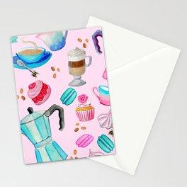 Moka pot, coffee and cake with raspberry macarons and yumminess Stationery Cards