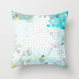 Colored blue geometric mosaic background Throw Pillow
