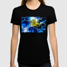 Yellow spotted blue T-shirt