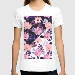 Watrecolor nature purple flowers  acuarela naturaleza flores moradas akvarell natur lilla blomster T-shirt