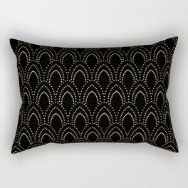 Black And Gold Foil Art-Deco Pattern Rectangular Pillow