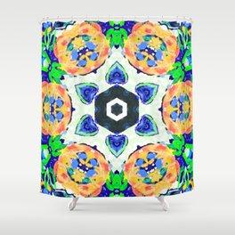 viva fluorescence mandala Shower Curtain
