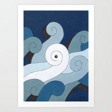Mono Pattern | The Waves Art Print