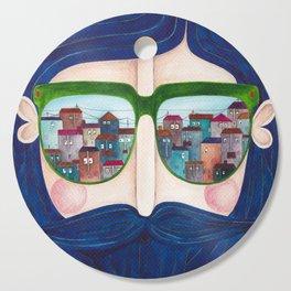 moustache and sunglasses Cutting Board