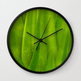 background in pastel colors with green grass and dew Wall Clock