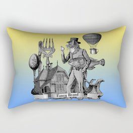 Surreal Vintage Collage with Cat Man holding Fish Rectangular Pillow