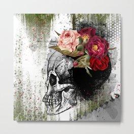 Flower Skull - Mixed Media Art Metal Print