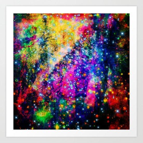 rainbow galaxy with stars Art Print
