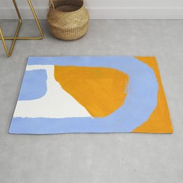 Minimalist Abstract Colorful Shapes Yellow Pastel Blue Mid Century Art Rug