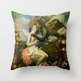 """The body, the soul and the garden of love"" Throw Pillow"