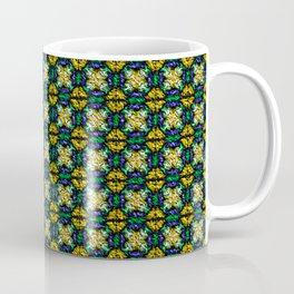 Blue Green and Yellow Textured-Look Abstract Coffee Mug