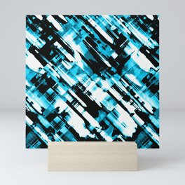 Hot blue and black digital art G253 Mini Art Print