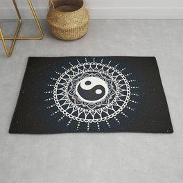 Yin Yang Mandala / White Mandala over stars Rug