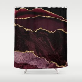Burgundy & Gold Agate Texture 02 Shower Curtain