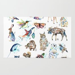 Canadian Wildlife ABCs Watercolor Painting Rug