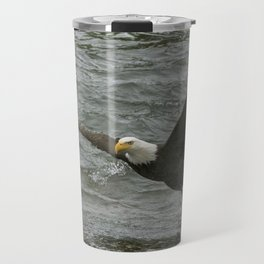 Bald  Eagle catching fish from river. Travel Mug