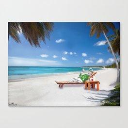 Corky's sunbathing Canvas Print