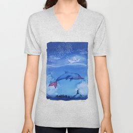 Fantasy Dauphin, The Castle And The Paper Boat Unisex V-Neck