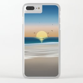 Morning on the beach Clear iPhone Case