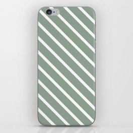 White Sage Diagonal Stripes iPhone Skin