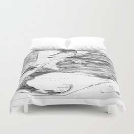 Vintage Cape Cod and NYC Steamboat Route Map BW Duvet Cover