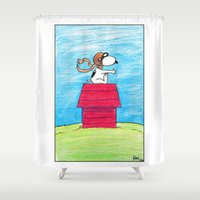 pilot Shower Curtains featuring pilot Snoopy by DROIDMONKEY