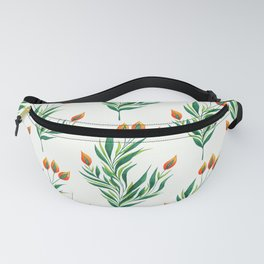 Abstract Green Plant With Orange Buds Fanny Pack
