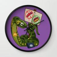 anaconda Wall Clocks featuring Anaconda Buns by Artistic Dyslexia