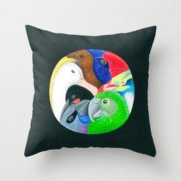 Squish Squashy Birds Circle Throw Pillow