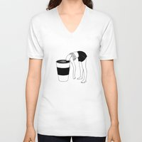 coffee V-neck T-shirts featuring Coffee, First by Henn Kim
