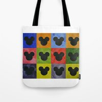 mickey Tote Bags featuring Mickey by Sierra Christy Art