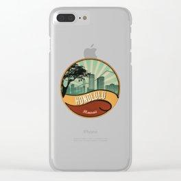 Honolulu City Skyline Design Hawaii Retro Vintage 80s Clear iPhone Case