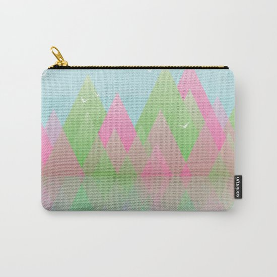 Geometric Lake Mountain I - Spring Carry-All Pouch