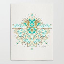 Sacred Lotus Mandala – Turquoise & Gold Palette Poster