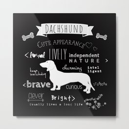 Dachshund black and white Metal Print