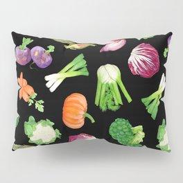 Black veggies pattern | Vegetables illustration pattern Pillow Sham