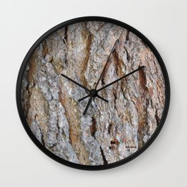 TEXTURES -- Big Cone Pine Bark Wall Clock