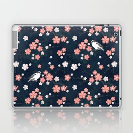 Navy blue cherry blossom finch Laptop & iPad Skin