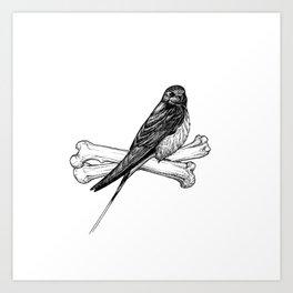 Bird and Bones Art Print