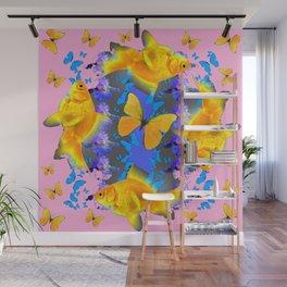 GOLDFISH & BUTTERFLIES PINK NURSERY ART Wall Mural