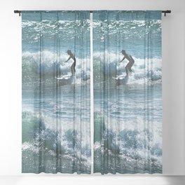 Surfer Sea Waves Surf Seascape Watersport 2 Sheer Curtain