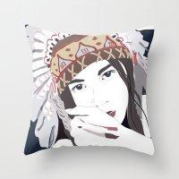 headdress Throw Pillows featuring Headdress by Footeprints