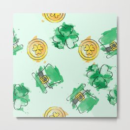 Luck Shamrock St. Patricks Day Pattern Metal Print