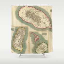 Vintage Map of Various Islands of The Caribbean Shower Curtain