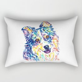 Australian Shepherd Watercolor Painting by Lisa Whitehouse Rectangular Pillow