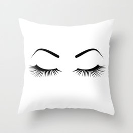 Closed Eyelashes (Both Eyes) Throw Pillow