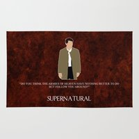 castiel Area & Throw Rugs featuring Supernatural - Castiel by MacGuffin Designs